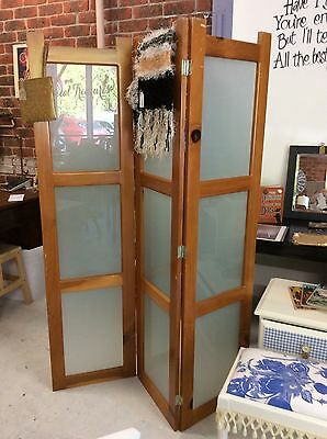 Retro Timber & Glass Three Panel Room Divider/Screen
