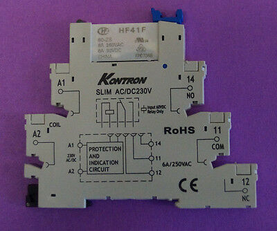 5 pieces of 230 V DC/AC Ultra Slim Relay DIN Rail Mount with connection bar