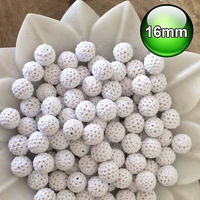 10 x Crochet wood beads 16mm White knit wooden teething baby safe jewellery