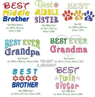 """The BEST"" WORDING MACHINE EMBROIDERY DESIGN, FAST & FREE P/P EMAIL, CUTE, NEW"