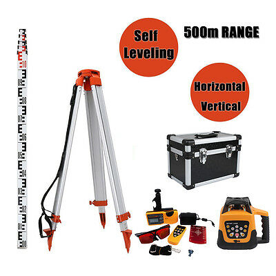 Automatic Red Rotary Laser Level 1.65M Tripod 5M Staff Kit Building 500M Range