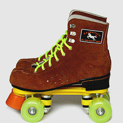 Adults Cow Leather Double Line Roller Skate Shoes Boots Outdoor Skating Quad