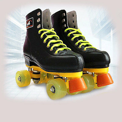 Professional Women Men's Black Double Line Roller Skates Quad Skating Shoes Boot
