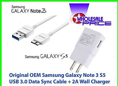 Original OEM Samsung Galaxy Note 3 S5 USB 3.0 Data Sync Cable + 2A Wall Charger