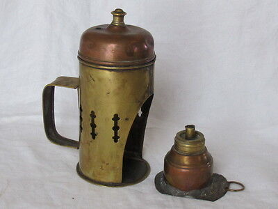 Antique Primitive Brass & Copper Food Warmer w/ Wick Unusual