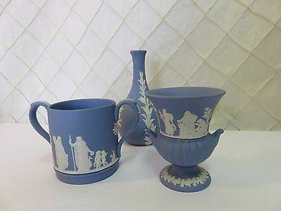 Wedgwood Blue Jasperware Small Vases + Double Handle Cup Mug Pitcher 1960s