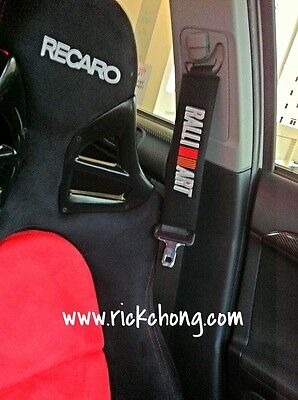 All Mitsubishi Lancer Ralliart Seat Belt Shoulder Pads With Ralliart Logo