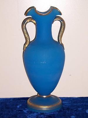 Beautiful Antique French Blue Opaline Gilt Double Handled Urn Vase Carafe 13""