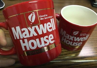 Lot 2 Vintage Red Maxwell House Instant Coffee Cups Mugs Ad Promo EUC