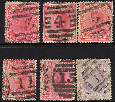Victoria 6 state stamps Collection Barred numerals Lot A2