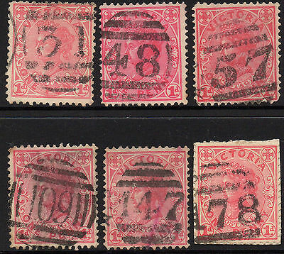 Victoria 6 state stamps Collection Barred numerals Lot A3