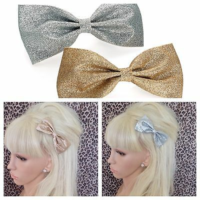 "New Pack 2 Glitter Sparkle 4"" Bow Hair Clips Gold & Silver Disco Party Girls"