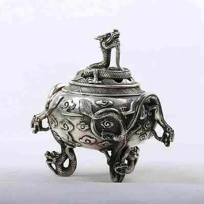 Chinese Silver copper Handwork Carve Dragon Incense Burners w Xuande Mark