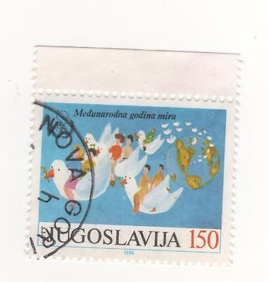 1986 FPR of Yugoslavia 150d People riding on Doves - International Peace Year.