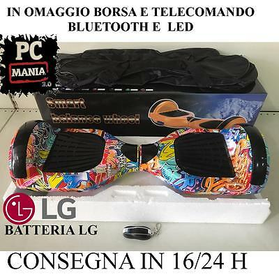 """Hoverboard 6.5"""" Luci Led E Bluetooth Speaker Scooter Overboard Fantasia Murales"""