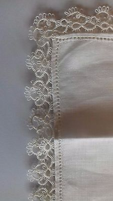 Antique Beautiful Ivory Cotton Handmade Tatting Bridal Lace Edged Handkerchief