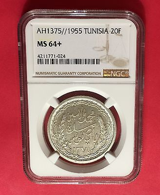 Tunisia- Ah1375//1955 Silver, 20 Francs  Ngc Ms64+  Extra Rare...low Mintage.