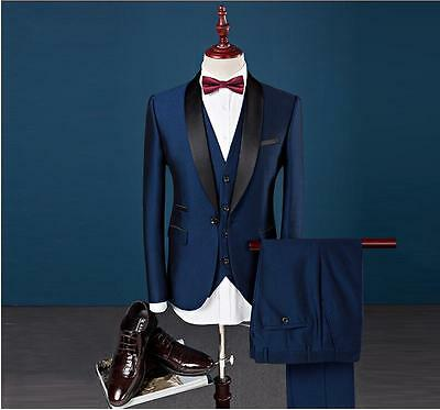 New Custom 3 Piece Sim Fit Blue Best Man Groomsman Men's Wedding/Prom Suits
