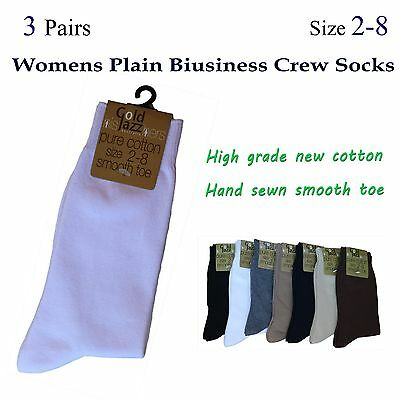 3 Pairs Womens Plain Business Crew Socks Size 2-8 (Pure Cotton Smooth Toe)