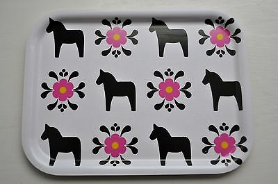 Swedish Dala Horse Tray Black and Pink Laminated Birch Wood