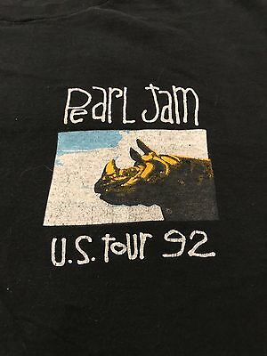 Vintage Pearl Jam 1992 US Tour T-Shirt Music For Rhinos/World Jam XL Long Sleeve