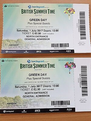 2 x Green Day BST Festival tickets Hyde Park 1st July