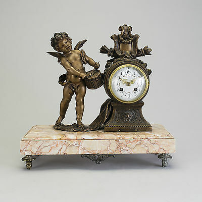 Table Desk Clock by L&F Moreau Bronze Angel