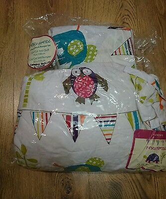 Brand new Kiddiecare Funky Friends Cot Bedding and curtain nursery set. Offers