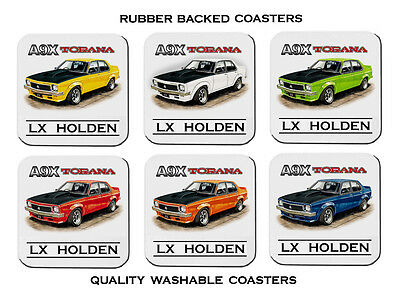 Holden  Lx  A9X  Torana  4 Door 308 V8  Set Of 6  Quality Rubber Drink  Coasters