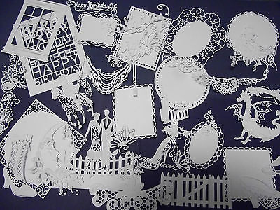 Large amount of mixed shaped Tattered Lace, Stephanie Weightman die cuts white