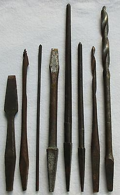 8 Vintage Assorted Drill Bits/screwdriver Pieces