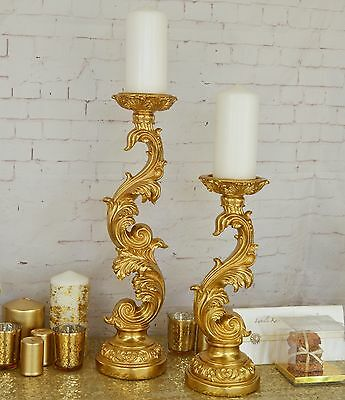 Wedding Table Centrepiece Candle Holder Pillar Gold Ornate Baroque Vintage