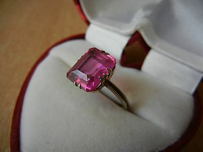 Vintage USSR RING SILVER GOLD PLATED 875 Star Size 6.5 pink STONE 3 g