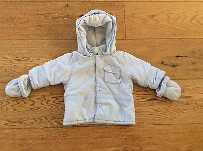Jean Bourget Baby Boy Blue Padded Jacket With Mittens - Size 6 Months - NEW
