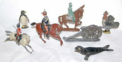 Collection of old antique lead toys - seal , soldier , cockerel chicken in suit