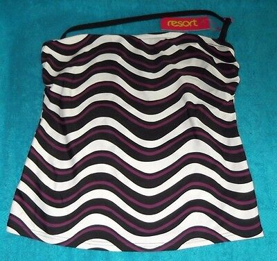 New ~ Size 10 ~ Magenta / Black ~ Bandeau Tankini Top ~ Wave ~ by Resort