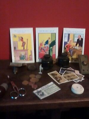 job lot of collectables postcards bakelite switches coins and more.           18