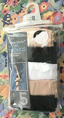 "NEW: M&S 5 pack ""NO VPL THONGS"" Size 20"