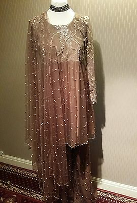 pakistani peplum mocha colour fully hand stiched pearls and mix embroidery.sizeS