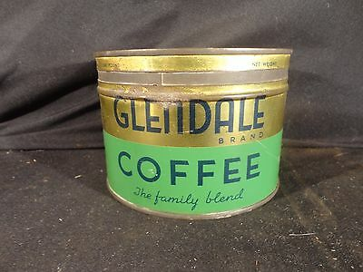 Vintage 1 Lb. Key Wind Glendale Coffee Can Tin  Correct Lid  Clover Farms