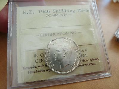 New Zealand Shilling 1946  Pro-Graded Iccs Ms-64   Z162