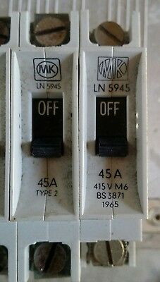 Mk Sentry Early  Ln 5945 45A 45 Amp M6 Type 2 Mcb Circuit Breaker.