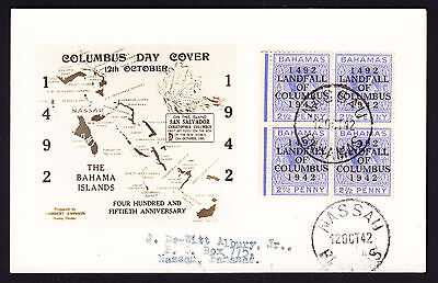 Bahamas block of 4 Landfall of Columbus ovptd KGVI 2.5d stamps on postcard 1942