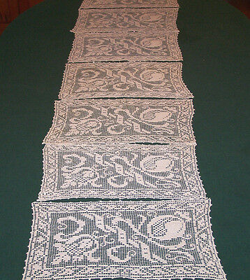 7 Vintage Filet Lace Placemats, Beautiful Lace Design, Excellent Condition, 1930