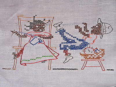 VINTAGE BLACK AMERICANA THEMED TOWELS, HAND EMBROIDERED LINEN, c1930