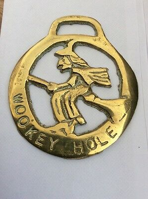 Vintage Horse Brass Wookey Hole Witch On Broomstick