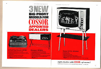 """The  COSSOR 19"""" TELEVISION, RADIOGRAM & TAPE RECORDER    (1962 Advertisement)"""