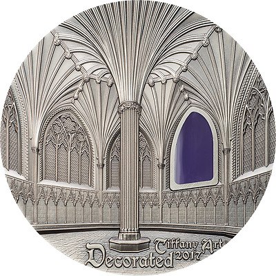Tiffany Art Wells Cathedral Decorated 2 oz Antique Silver Coin Palau 2017 10$