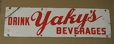 Vintage Porcelain Yaky's  Beverage Soda Sign Yaky Bottling Co Of Aliquippa, Pa