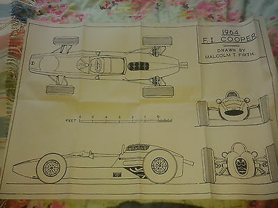 A1 plan drawing of 1964 Cooper Climax Formula 1 car